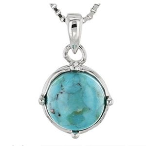Turquoise blue 8MM round pendant in .925 Sterling